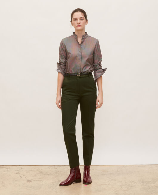 Pantalon chino 7/8e fuselé en coton MILITARY GREEN