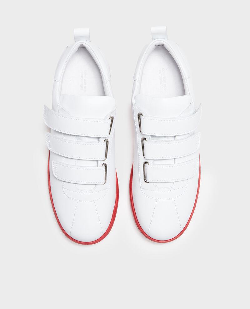 Sneaker en cuir avec pattes velcro White fiery red Leader