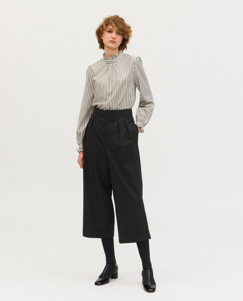 Pantalon court à revers en laine prince de galles Check-wool-pattern-tailoring Mirboz