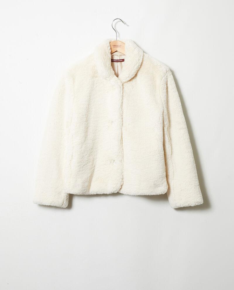 Manteau court en fourrure synthétique Off white Jakou
