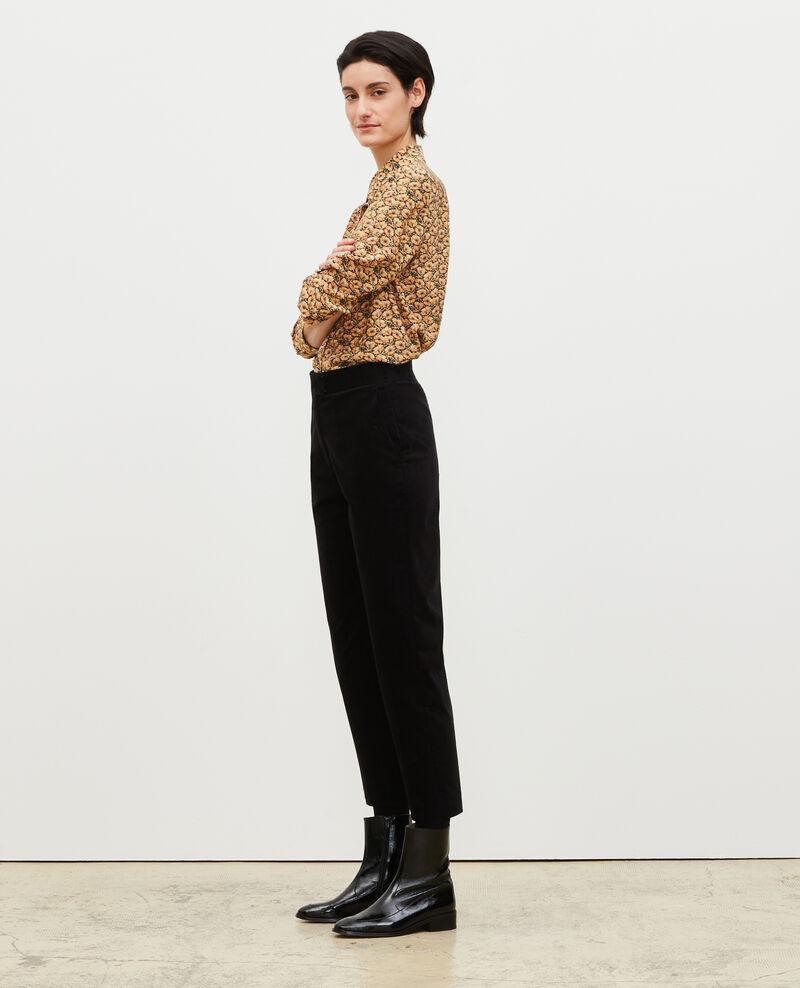 Pantalon flare en velours taille haute 7/8e Black beauty Marousseau