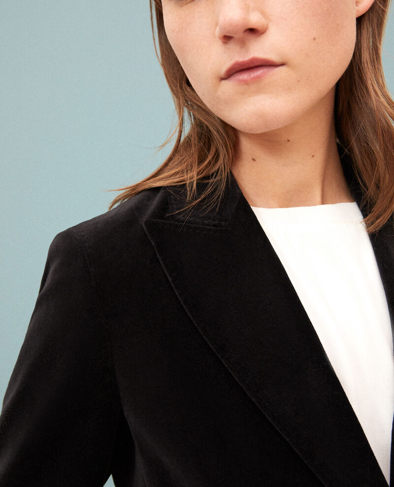 Veste de costume en velours Noir Gabrielo
