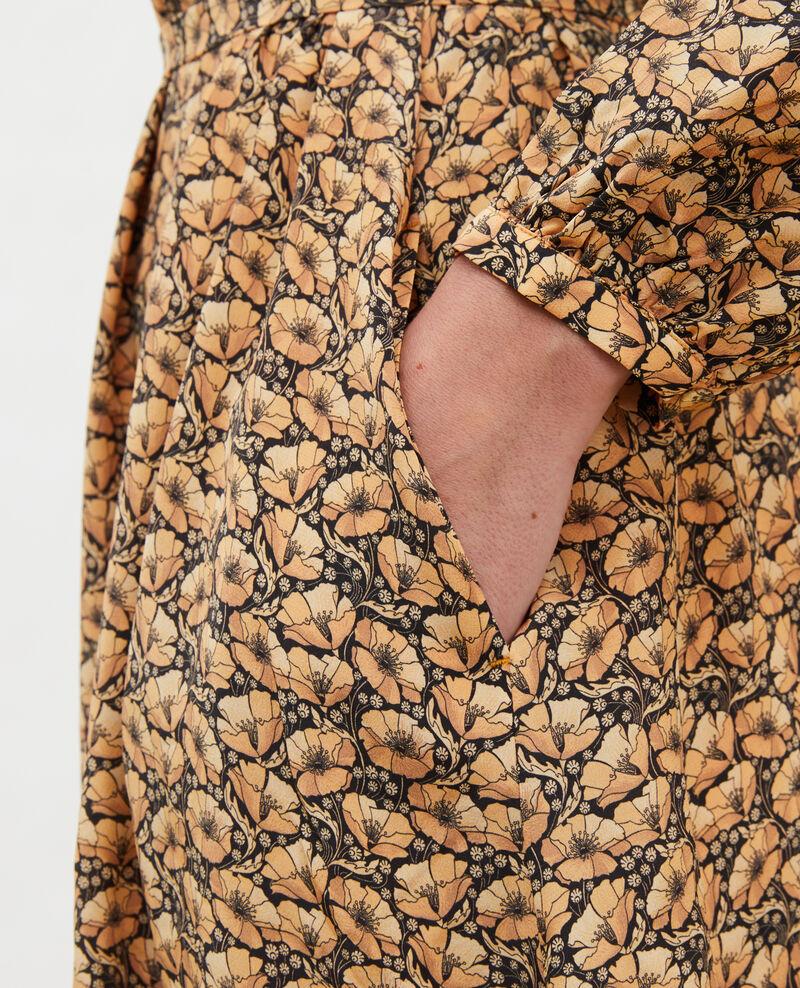 Robe longue en soie ceinturée col V Print artdeco lemoncurry Marieuxa