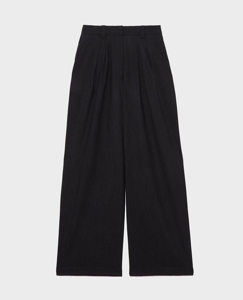 Pantalon YVONNE, large en laine taille haute Night sky Mofare