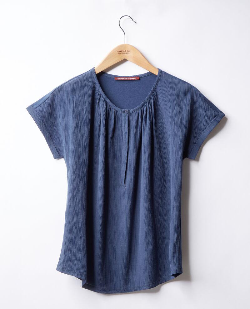T-Shirt bi-matière Indigo Fara