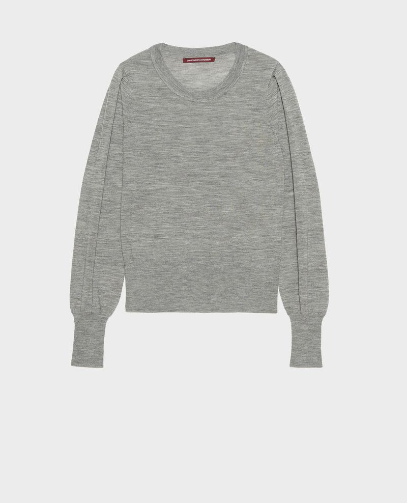 Pull en laine mérinos à col rond Light grey melange Molineta