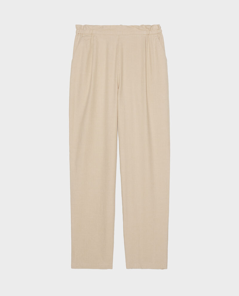 Pantalon élastiqué « easy wear »en lin Oxford tan Loranki