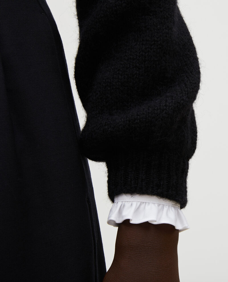 Pull large à col bateau en laine Black beauty Mombrier
