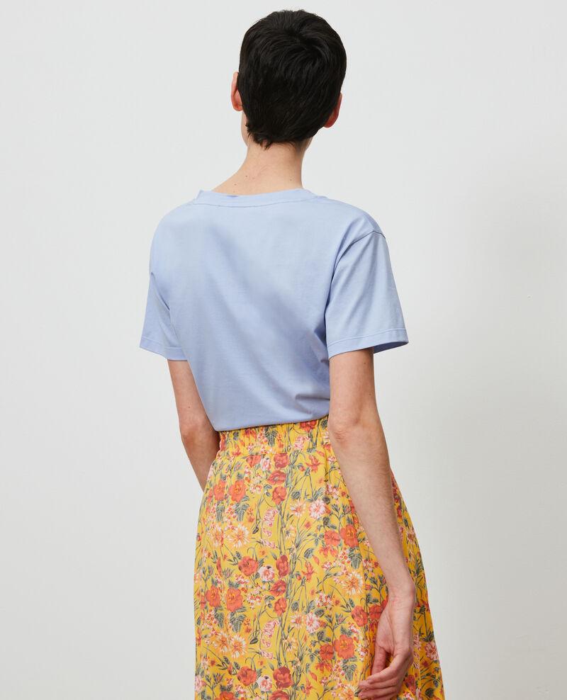 T-shirt brodé en coton Blue heron Nagaoka