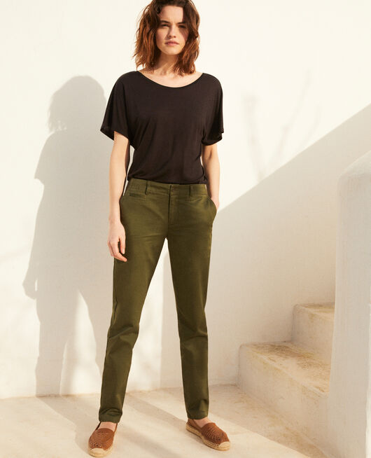 Pantalon en toile CHENG OLIVE