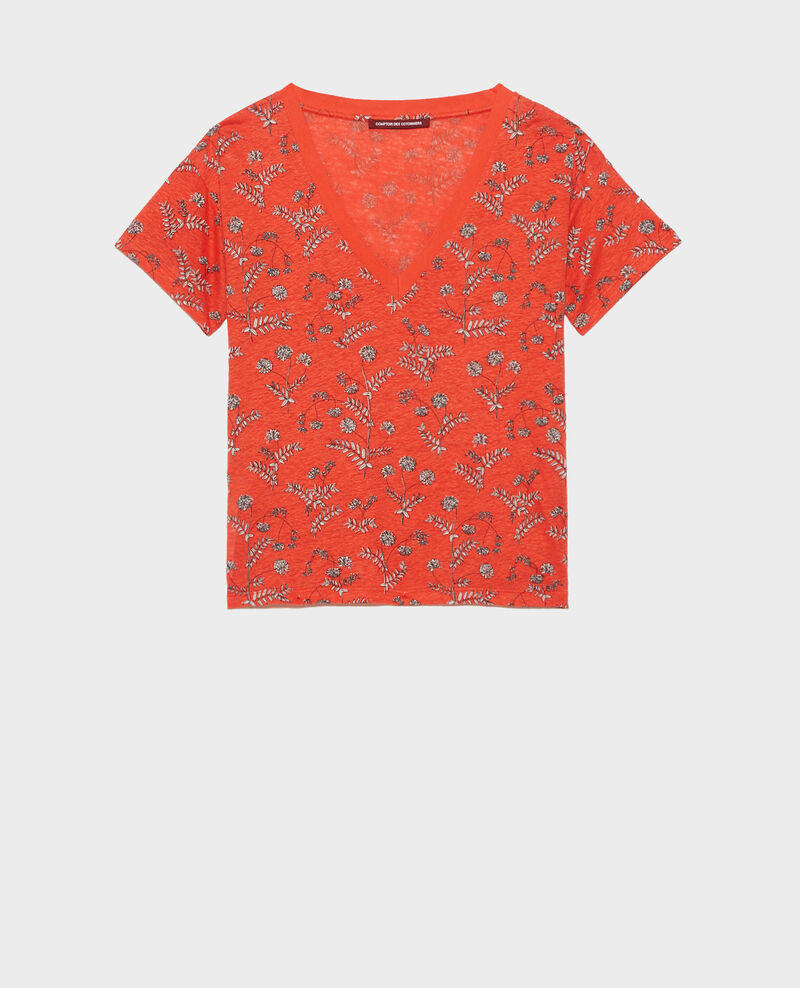 T-shirt col V en lin Coronille spicy Nayeli