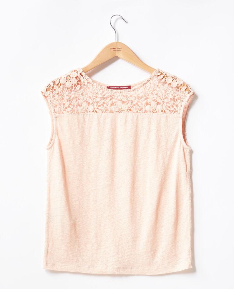 T-shirt en lin avec dos en dentelle Nude Furbigo