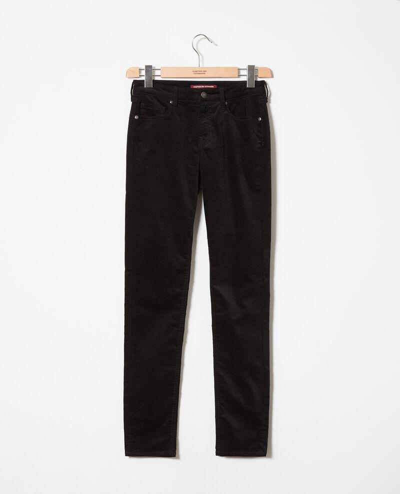 Pantalon en velours lisse Noir Juillemin