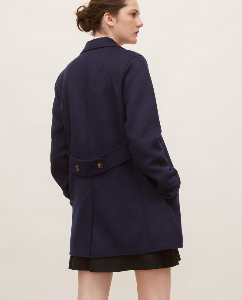 Manteau caban en lainage double face Maritime blue Lintot