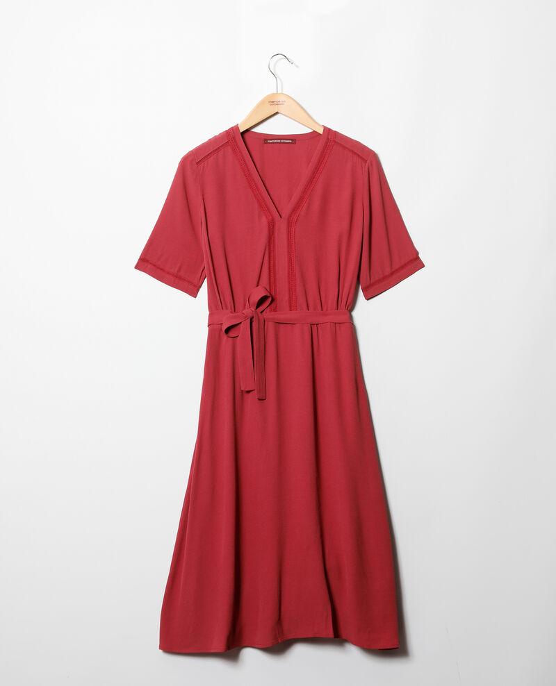Robe avec inserts de dentelle Rouge Grigue