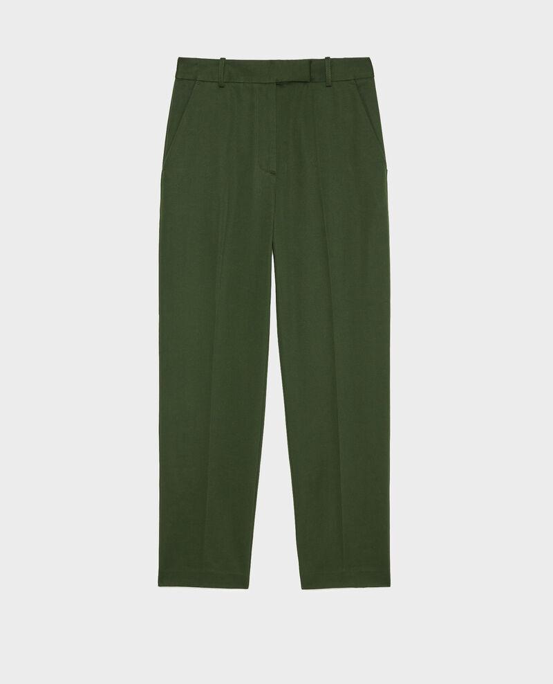 Pantalon chino MARGUERITE, 7/8e fuselé en coton Military green Mezel