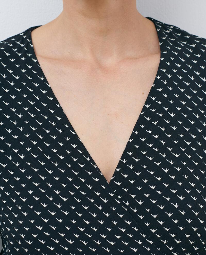 Robe portefeuille imprimée Birdy black Piremonta