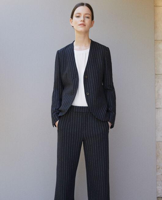 Veste tailoring sans col NAVY/OFF WHITE