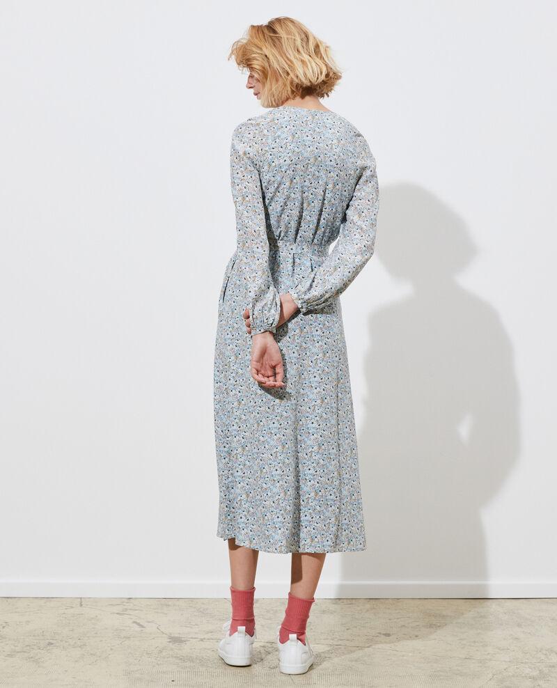 Robe longue en soie Art deco blue Pavisha
