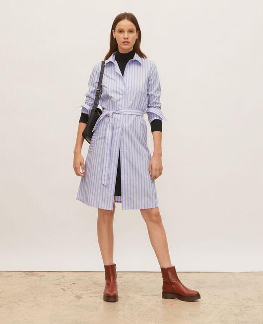 Robe-chemise ceinturée en coton POPELINE STRIPES