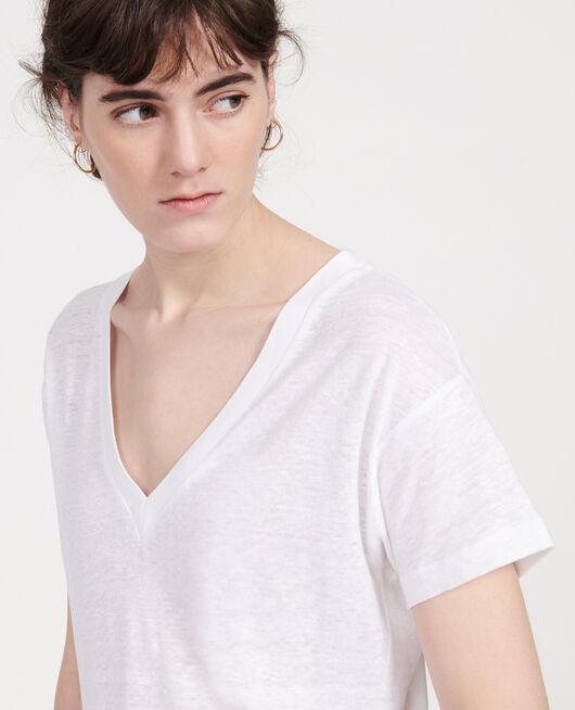 T-shirt en lin OPTICAL WHITE
