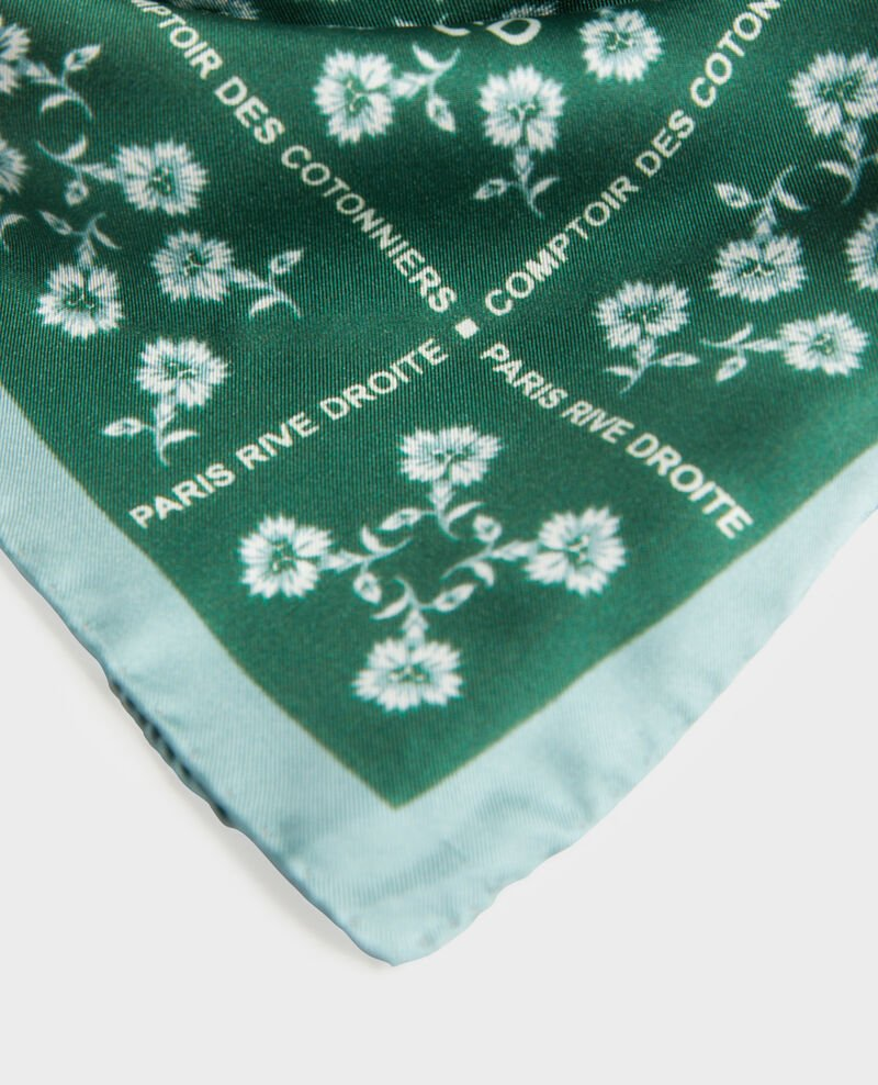 Foulard carré de soie Rain forest Mediteranee