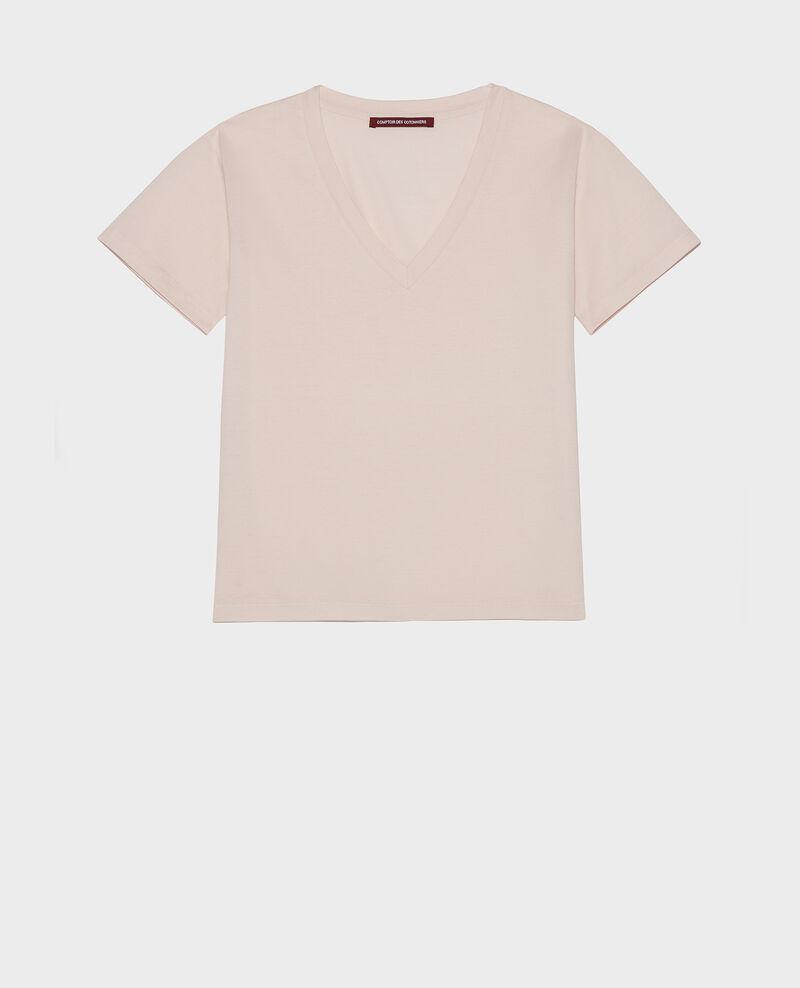 T-shirt en coton col V Primrose pink Laberne