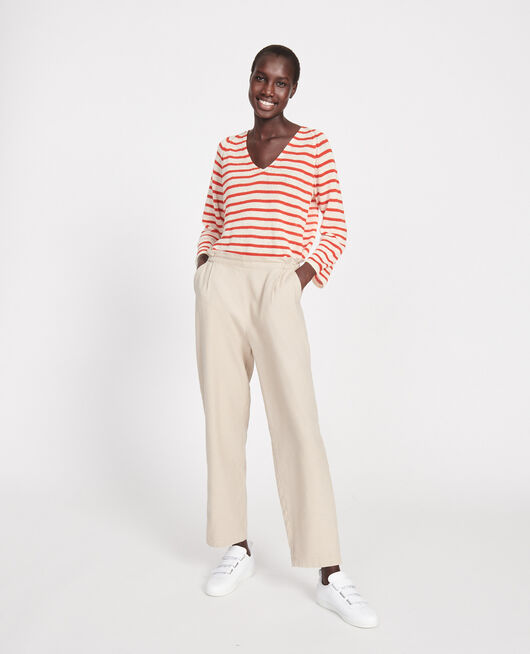 Pantalon élastiqué « easy wear »en lin OXFORD TAN