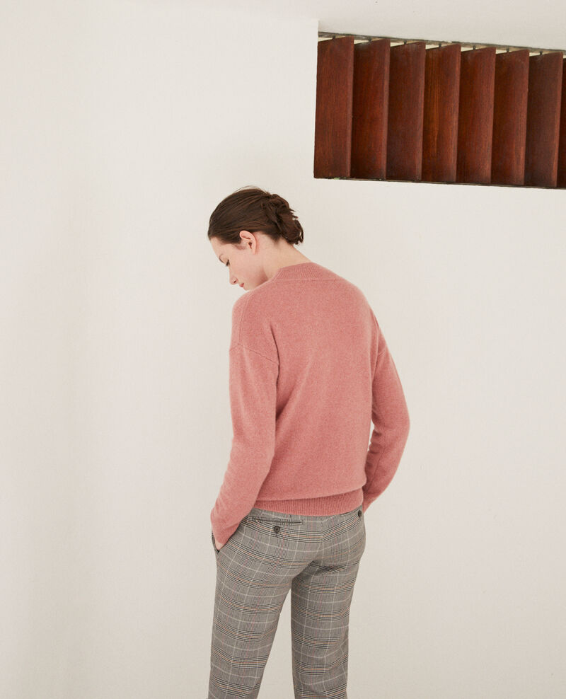 Pull en cachemire col montant Old rose Gladissio