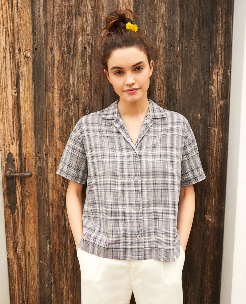 Chemise col ouvert Off white/navy Itricia