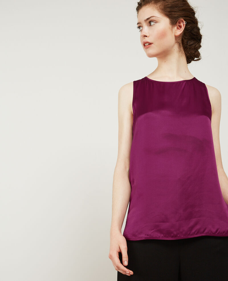 T-shirt bi-matière avec soie Dark peony Dicton