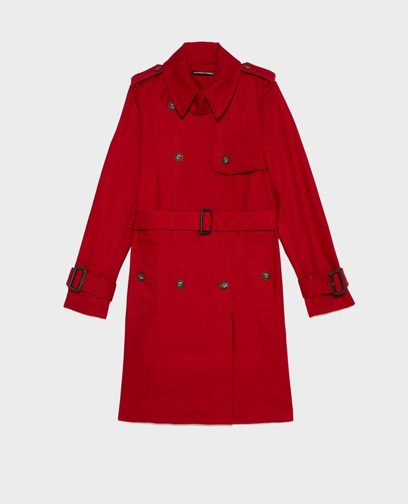 Trench ceinturé mi-long en coton Royale red Mambert