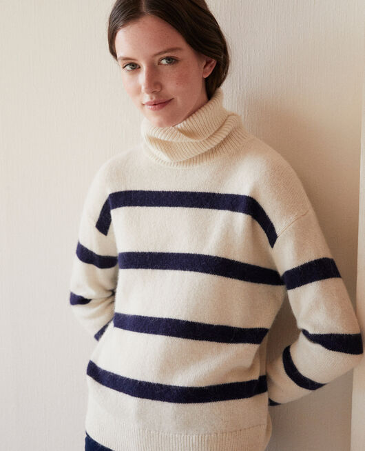 Pull col roulé OFF WHITE/PEACOAT