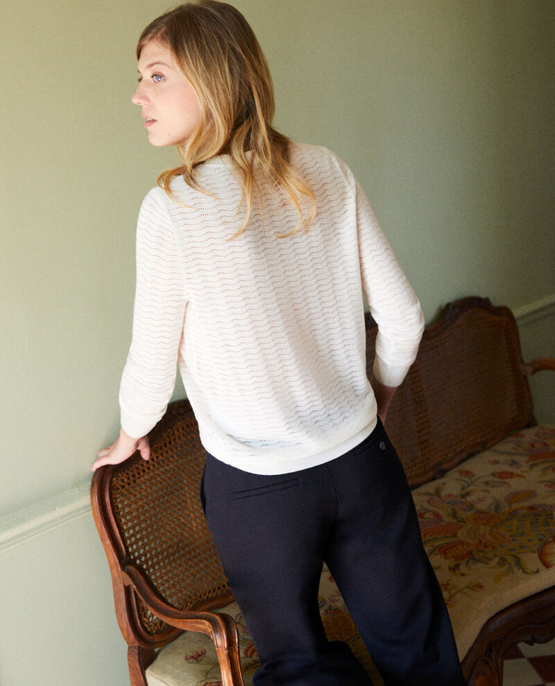 Pull maille fantaisie 100% Laine Mérinos Off white Jikael