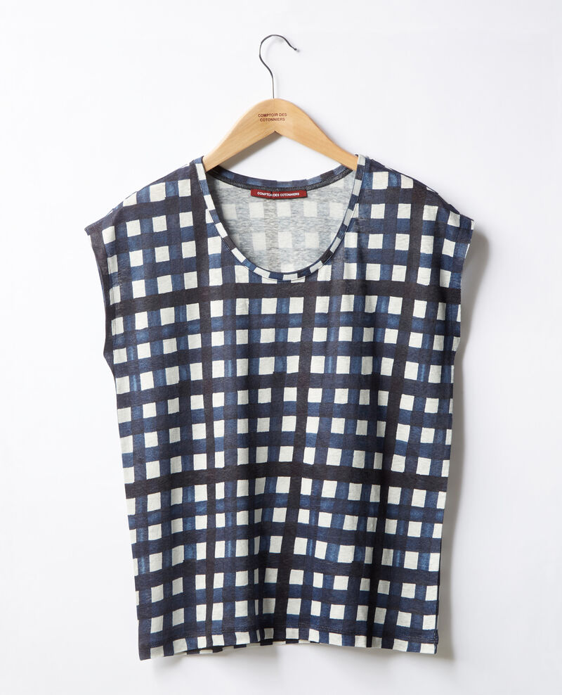 T-shirt en lin imprimé Ghingham big marine Fengshui