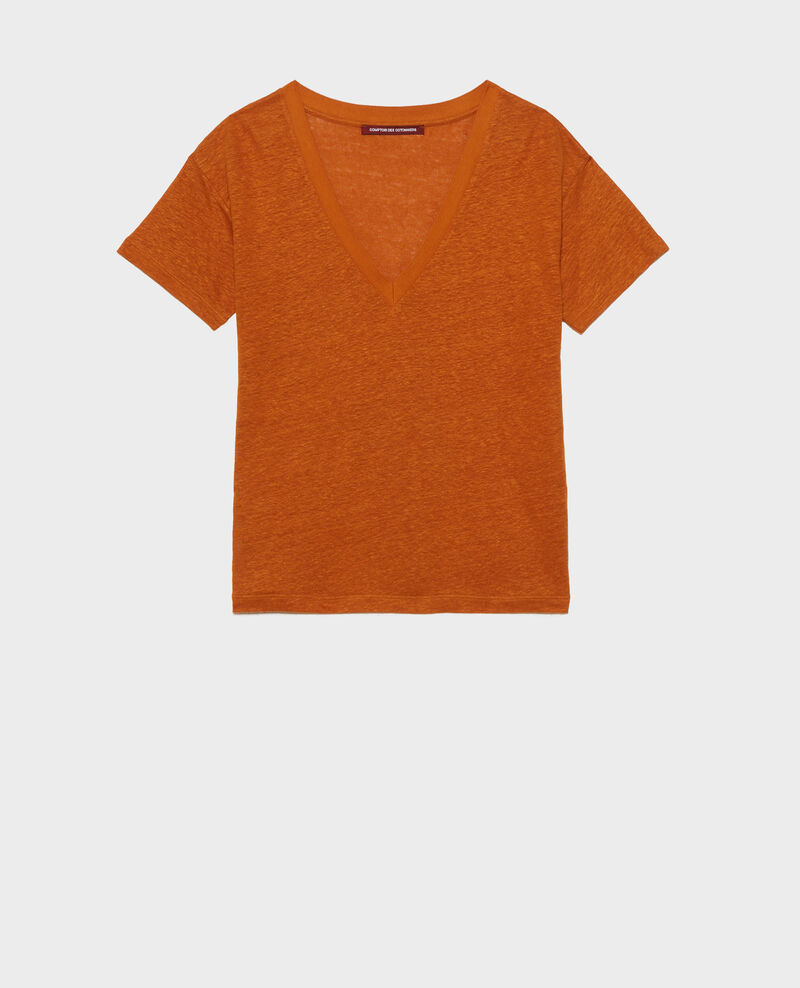 T-shirt col V en lin Pumpkin spice Locmelar