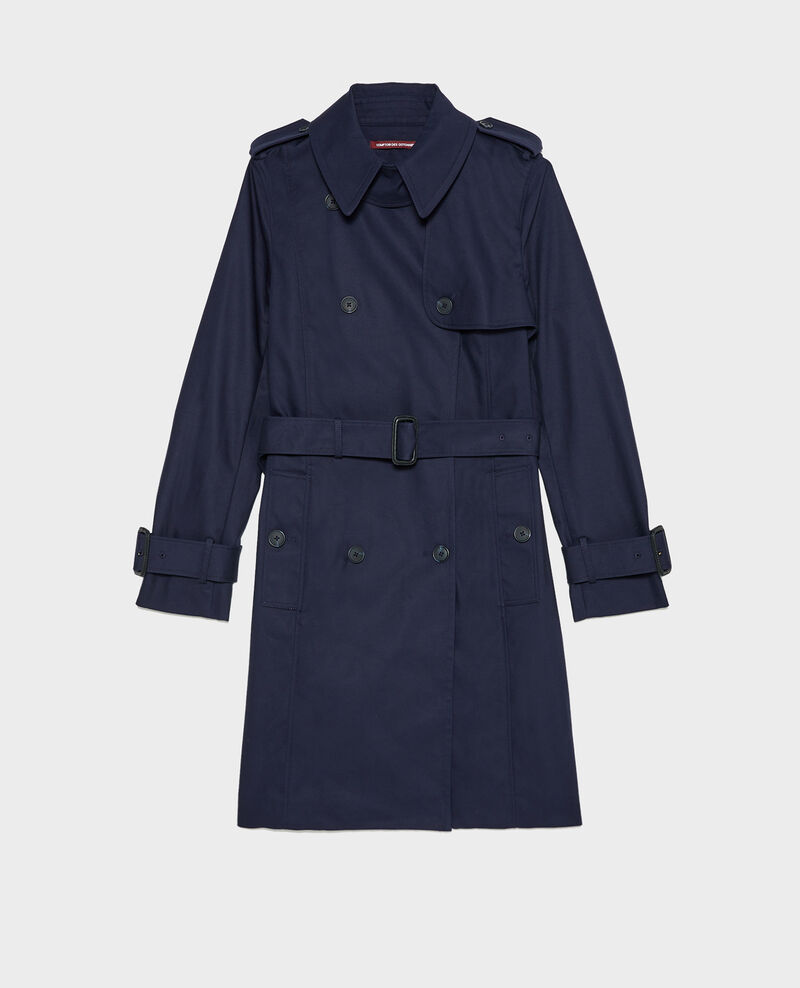 CATHERINE - Trench ceinturé mi-long en coton Night sky Mambert