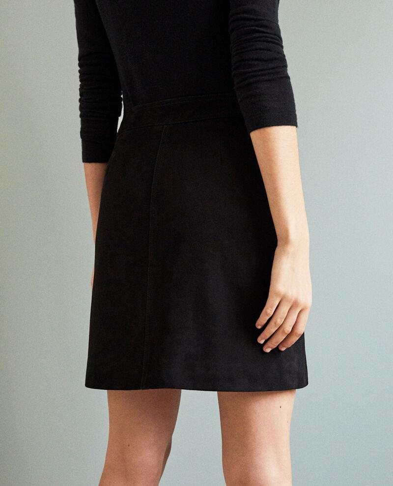 Jupe courte en daim Noir Icate