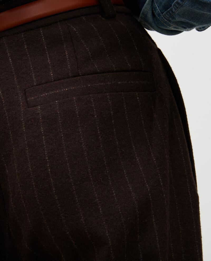 Pantalon YVONNE, large, taille haute en laine Stripe coffee bean Mefari