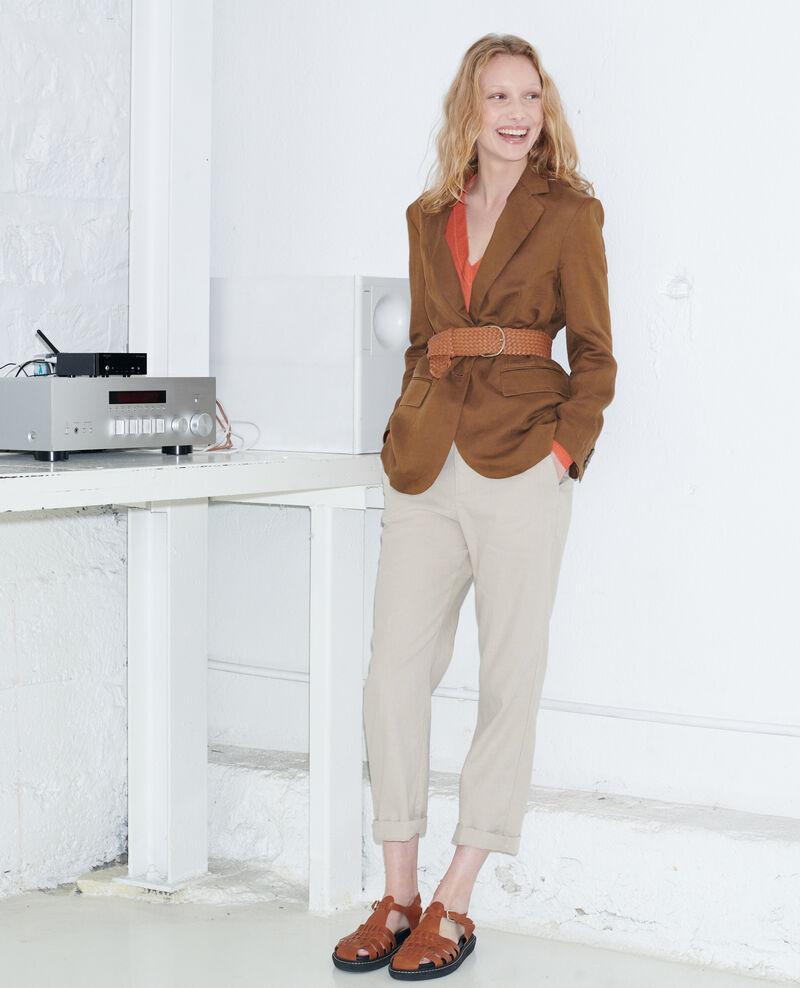 Pantalon 7/8e en lin Oxford tan Laiguillon