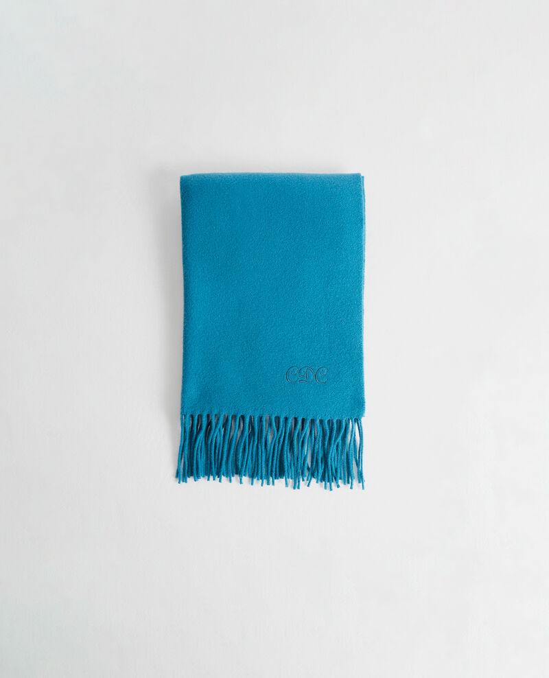 Grande écharpe à franges en laine Blue coral Mautes