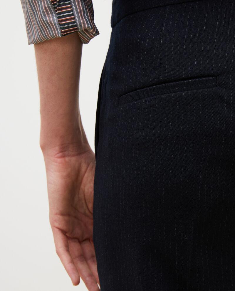 Pantalon MARGUERITE, 7/8e fuselé en laine Night sky Mokoy