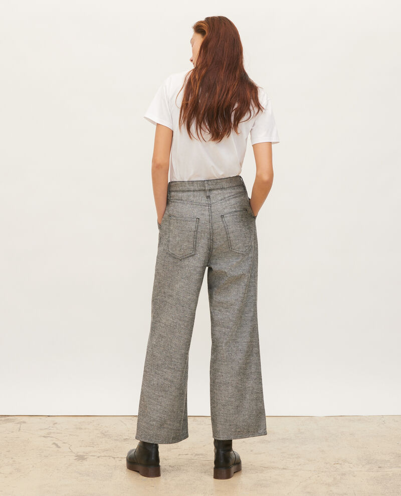 PLEATED - Pantalon large en denim gris Grey wash Maples