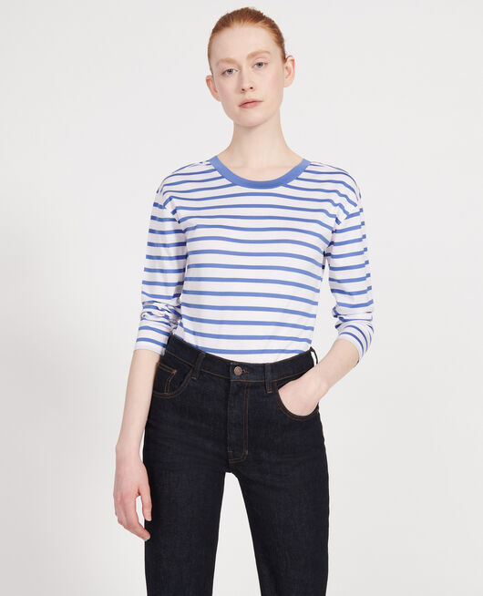 T-shirt en coton Egyptien STRIPES OPTICAL WHITE AMPARO BLUE
