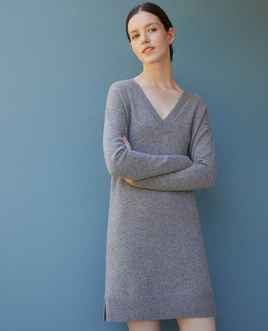 Robe en cachemire réversible LIGHT HEATHER GREY