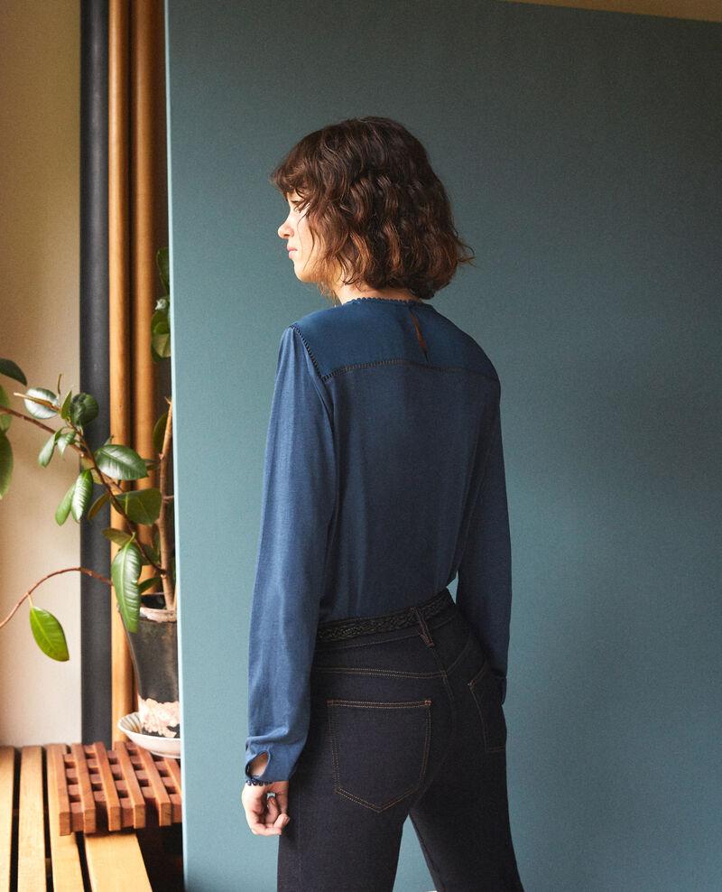 T-shirt bi-matière avec détails de pompons Majolica blue Glivoire