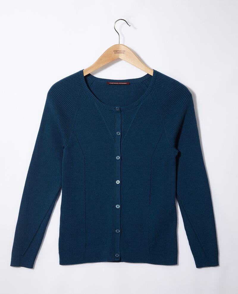 Cardigan en coton Majolica blue Genie