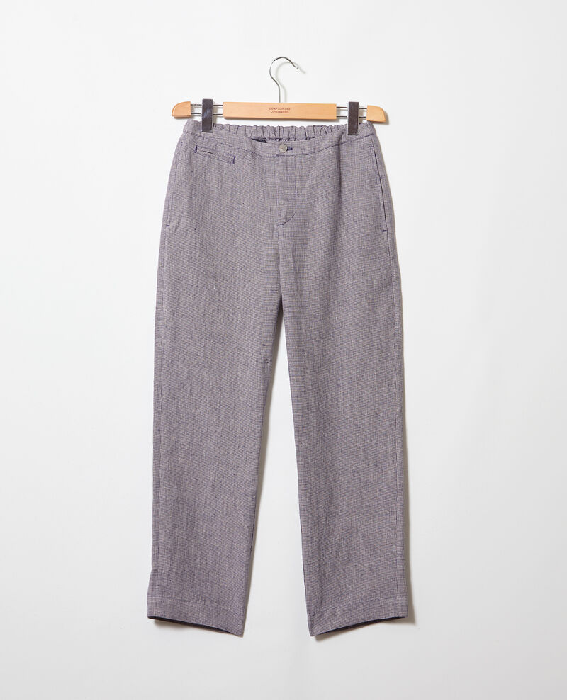 Pantalon coupe carotte en lin Natural linen/ink navy Iphonow