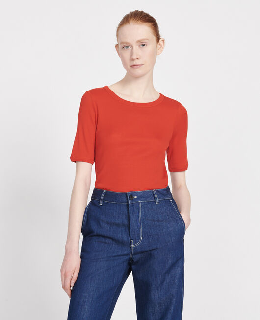 T-shirt fines côtes en coton mercerisé FIERY RED
