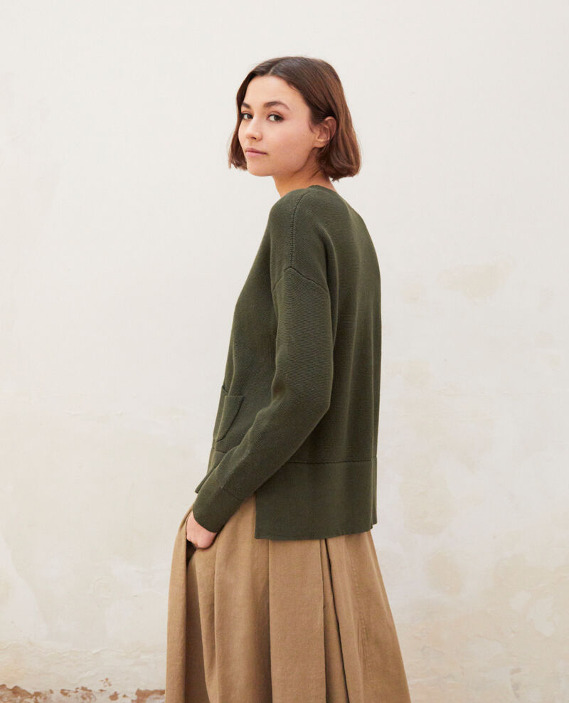 Pull col rond Olive green Ifetou